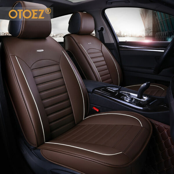 Leather Car Seat Cover Universal Fit Breathable 5 Seat Full Set Front Back Cover $75.98