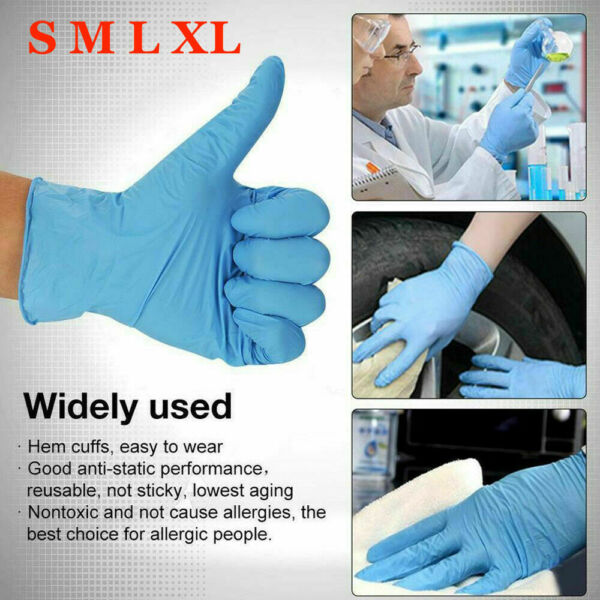 100 Pcs Nitrile Blue Durable Rubber Cleaning Hand Gloves Powder Latex Free