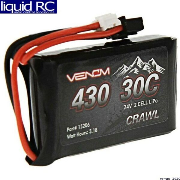 Venom Racing 15206 7.4V 430mAh 2S 30C LiPo Battery JST PH 2.0 SCX24