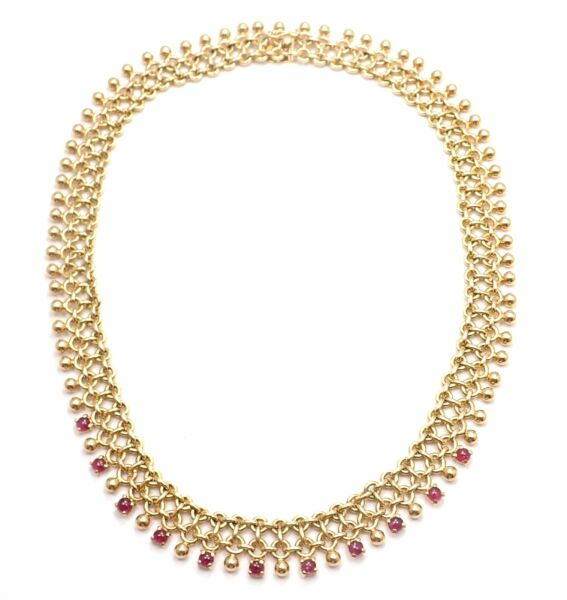 Rare! Vintage Authentic Tiffany & Co 18k Yellow Gold Ruby Collar Necklace