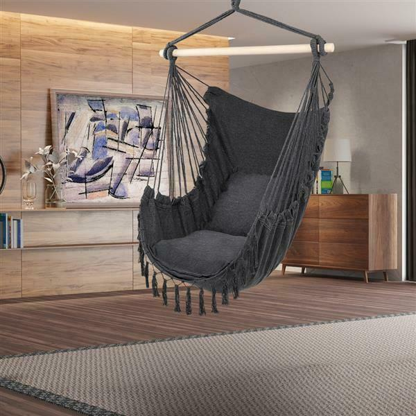 Hammock Chair Pillow Swing Hanging Rope Tree Porch Yard Patio Camping Seat Chair $28.42