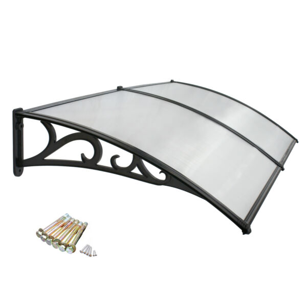 80quot; x 40quot; Window Canopy Awning Door Complete Polycarbonate Sheet Patio Decor