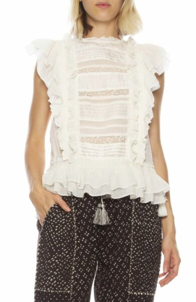 ULLA JOHNSON Corinna Ivory Lace and Ruffle Flutter Sleeve Top 2 NWT