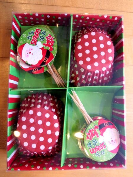 24 Standard Size Christmas Cupcake Liners amp; Toppers IT#x27;S THE SEASON TO BE JOLLY