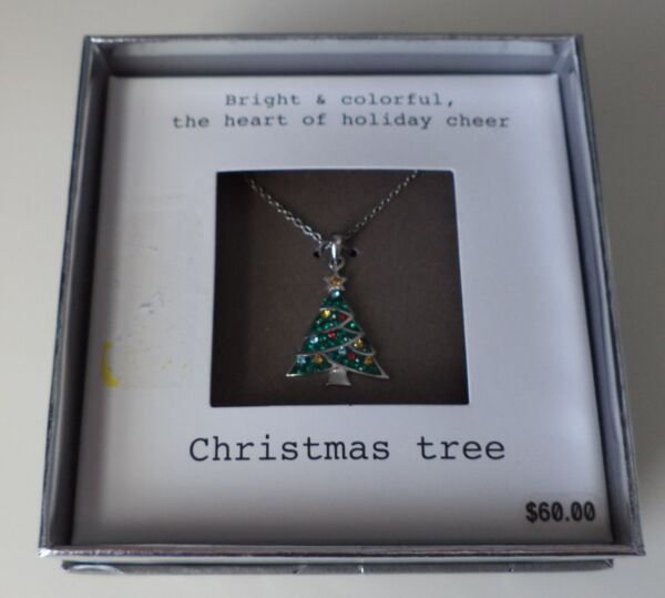 Rhinestone Christmas Tree NECKLACE Silver tone 18quot; Chain NEW NIB