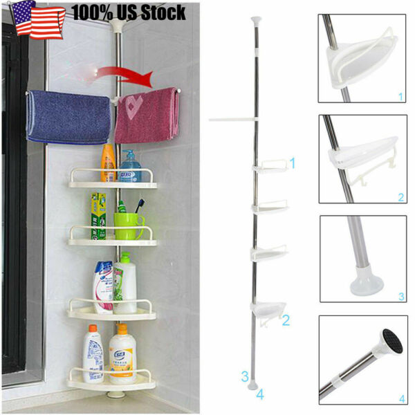 4 Layer Bathroom Shower Bath Caddy Corner Storage Rack Wall Shelf Pole Organizer