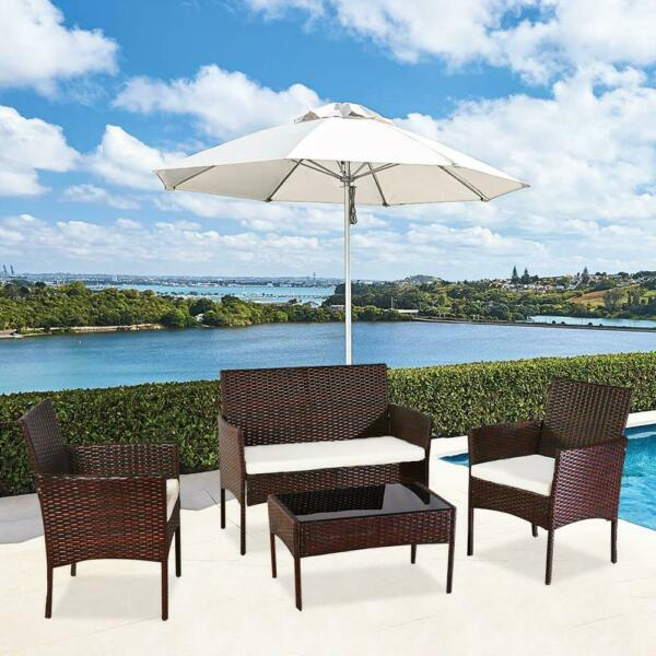 Patio Wicker Furniture Outdoor 4PCs Rattan Sofa Garden Conversation Set