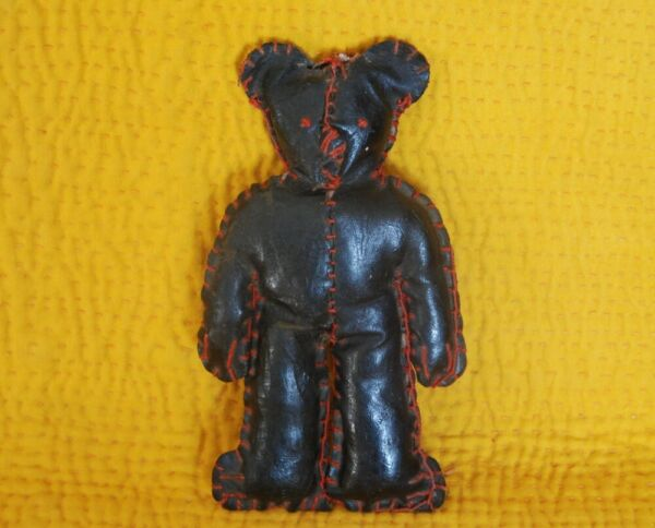 SMALL ANTIQUE BLACK OILCLOTH STUFFED BEAR HAND STITCHED VINTAGE CHILD TOY