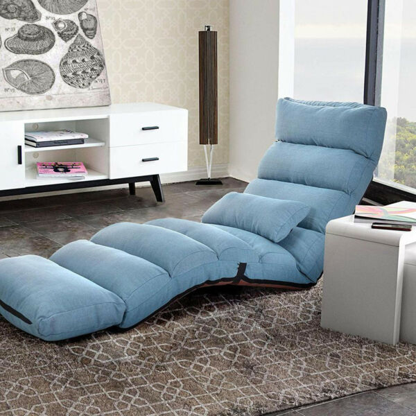 VILOBOS Adjustable Lazy Sofa 5 Position Folding Floor Chair Cushioned Recliner $89.99