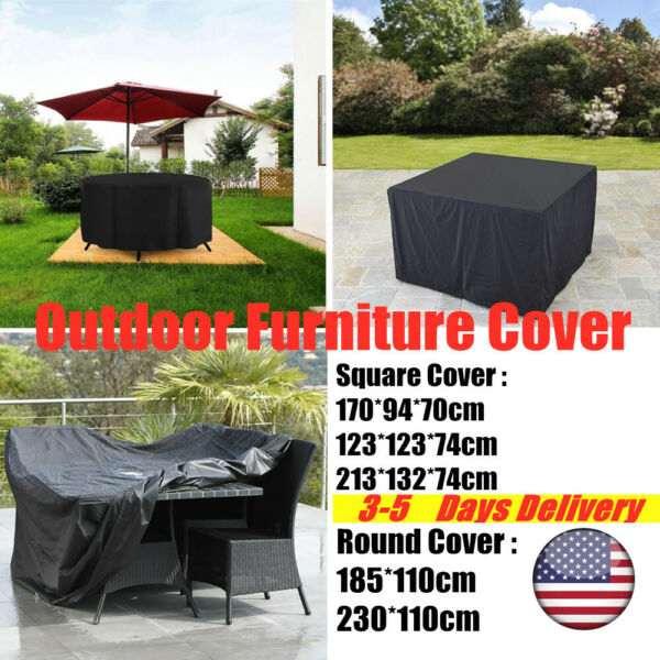 Outdoor Furniture Covers Waterproof Garden Patio Round Square Side Table Cover $31.34
