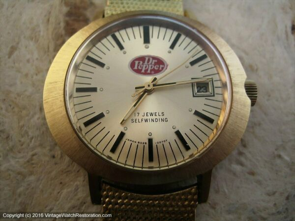 Dr. Pepper Promotional Watch with Date Automatic Large 40x42mm $180.00