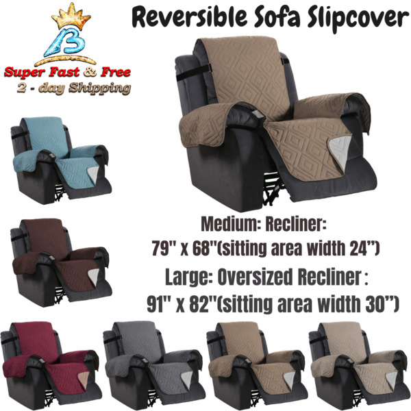 Reversible Recliner Arm Chair Cover Lazy Boy Protector Wide Elastic Straps NEW $31.15