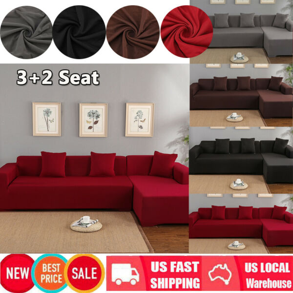 32 Seater Sofa Covers Fabric Stretch Slipcovers for L Shape Sectional Sofa US $34.87