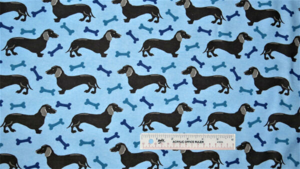 Dachshunds Dog Dogs Bones Treats on Light Blue Cotton Flannel Fabric BTY J # $5.99
