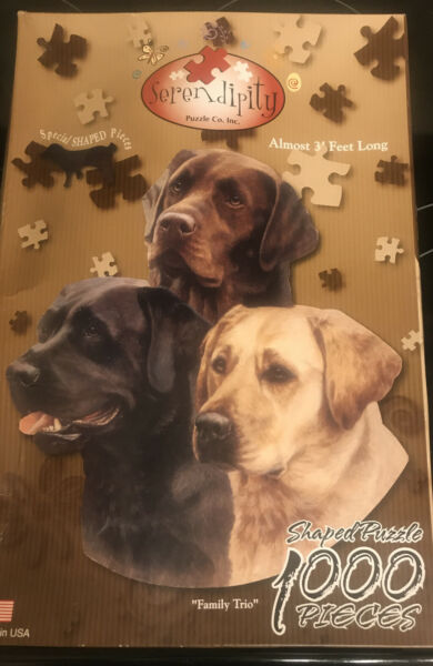 Family Trio dog 1000 piece shaped jigsaw puzzle SerendipityColorful 3 Feet Lng $24.99