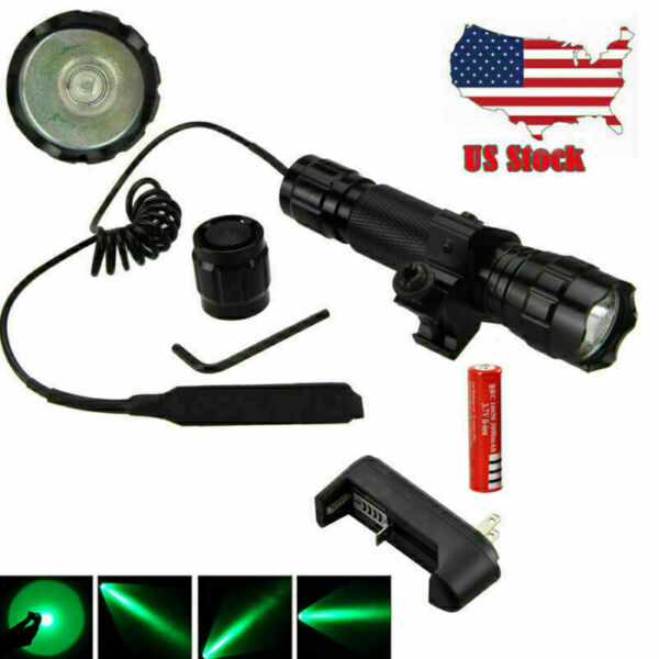 8000LM Tactical Flashlight 501B Hunting LED Rail Scope Light Picatinny Mount USA