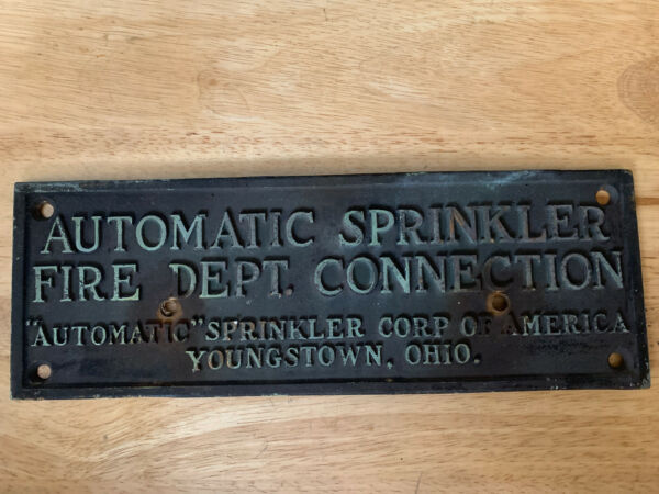 """Vintage Brass 4.5"""" X 13"""" Automatic Sprinkler Corp America Sign Youngstown Ohio $75.00"""