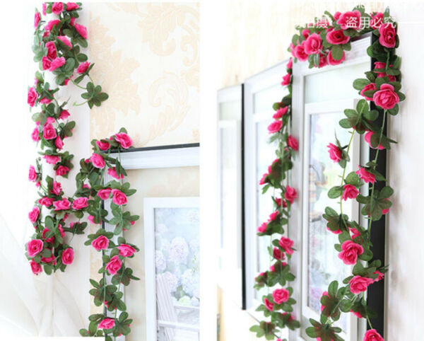 4 Pcs Artificial Rose Red Small Flowers Vine Wall Wedding Garland 90quot; each