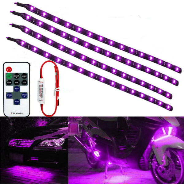 4x Purple Wireless Remote Control LED Strip Under For Car Motorcycle Neon Light $11.08