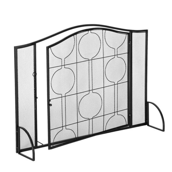 Fireplace Screen with Door Solid Wrought Iron Frame with Metal Mesh Spark Guard