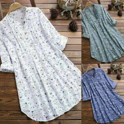 Women Floral Cotton Linen Shirts Tunic Tops Blouse T Shirt Mini Dress Plus Size $13.86