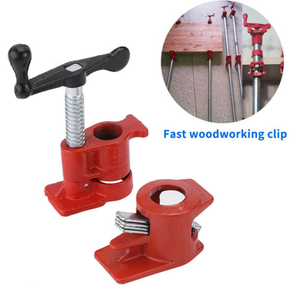 1 Pack 3 4quot; Wood Gluing Pipe Clamp Set Heavy Duty Woodworking Cast Iron Clamps