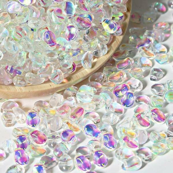 50pcs 6x8mm Crystal Glass Charms Pendants Loose Petal Beads Jewelry Making DIY