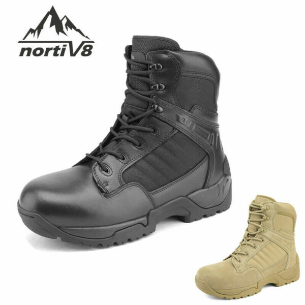 Men#x27;s Military Tactical Work Boots Side Ankle Hiking Motorcycle Combat Boots US