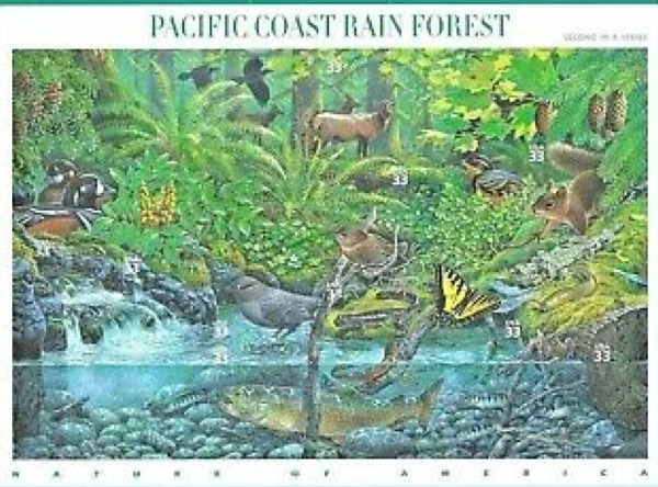 #3378 Postage Stamps Sheet PACIFIC COAST RAIN FOREST