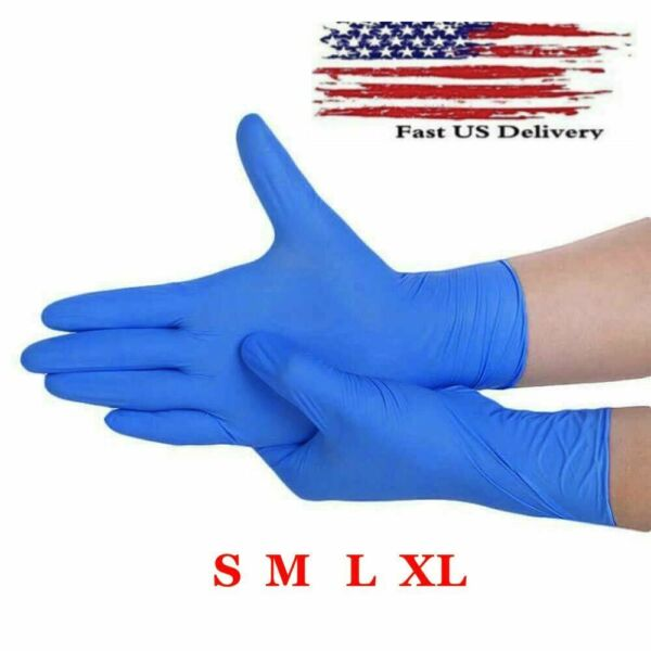 100 Pcs Nitrile Blue Durable Rubber Cleaning Hand Gloves Powder Latex Free USA $20.95
