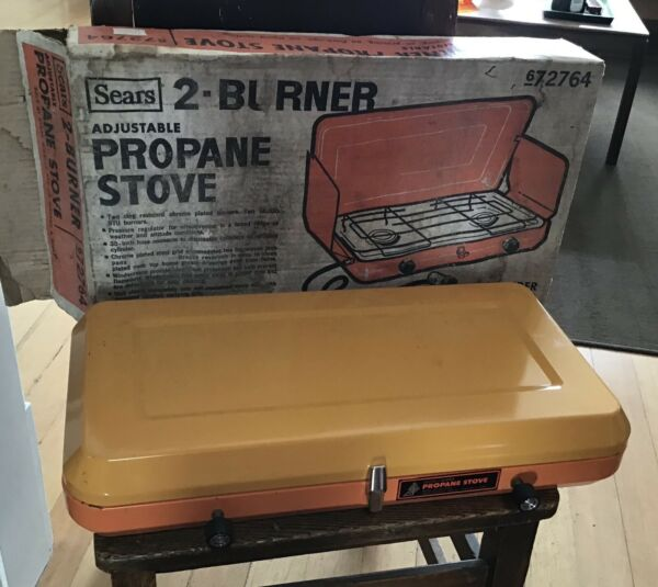 Vintage Orange Sears 2 Burner Propane Stove With Box