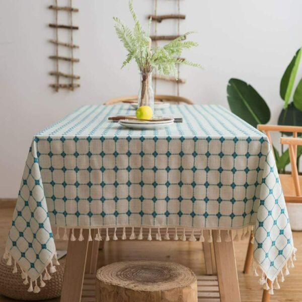 Lamberia Cotton Linen Tablecloths with Tassel for Rectangle Tables Heavyweight B
