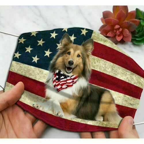Sheltie Dog America Flag Face Mask 3D One Size All Fit Washable $12.99