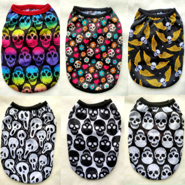 Yorkie Cute Skull Dog Clothes Pet Puppy Hooded Dog Cat Apparel Colors XXS 5XL $5.69