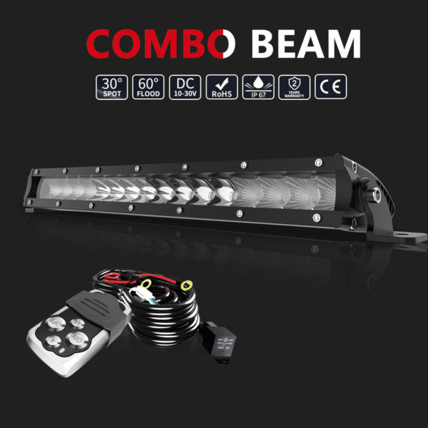 17quot; inch 80W LED Light Bar Flood Spot Combo Wires for Offroad SUV ATV 4WD Truck