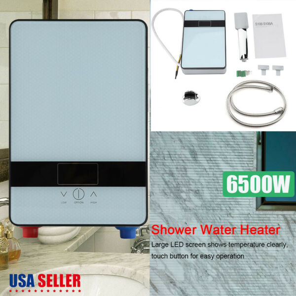 6500W Tankless Instant Electric Hot Water Heater Shower Head Set Bathroom 110V $49.96