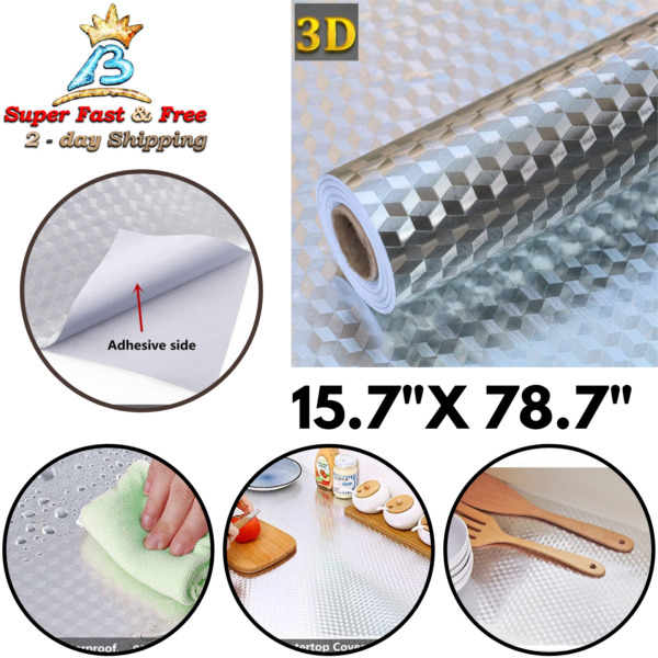 Stainless Steel Contact Paper Self Adhesive Wallpaper Counter Top Shelf Liner
