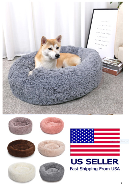 Luxury Pet Dog Beds Round Houses Long Wool Puppy Kennel Kitten Washable Cushion $23.99