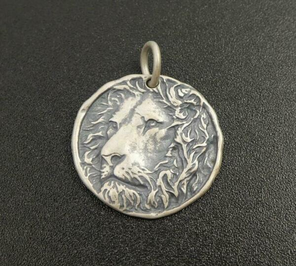 Handmade Unique Antiqued Sterling Silver Lion Head Round Charm Pendant Necklace $28.00