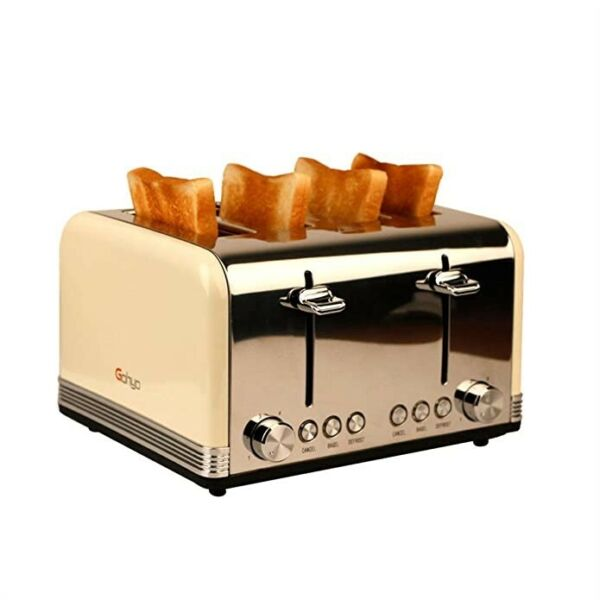 4 Slice Toaster Stainless Steel with Wide Slots amp; Removable Crumb Tray for Bread