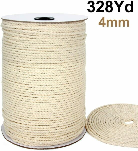 Macrame Cord 4mm X 328 Yards Cotton Macrame Rope 3 Strand Twisted Cotton Cord US