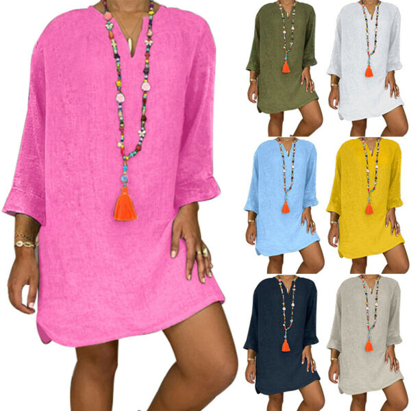 Women#x27;s Casual V neck Long Sleeve Midi Loose Fit Relaxed Solid Tunic Dress