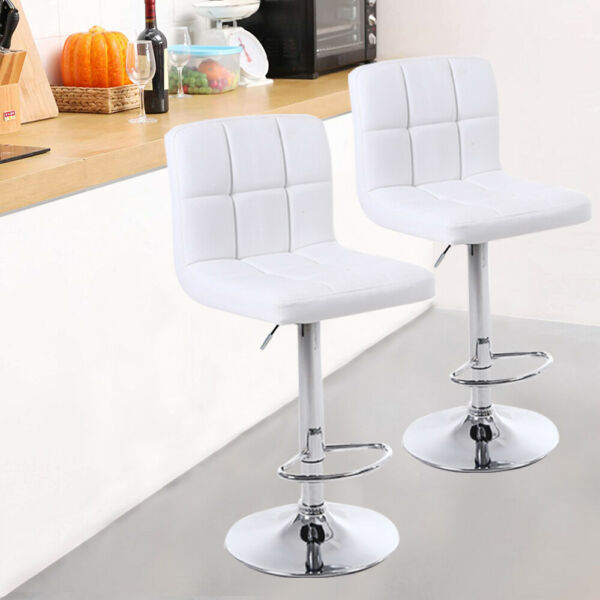 Set of 2 Counter Height Bar Stools Leather Adjustable Swivel Pub Chairs USA