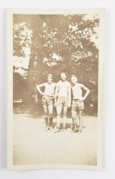 Vintage Snapshot Photograph Men Wearing Shorts