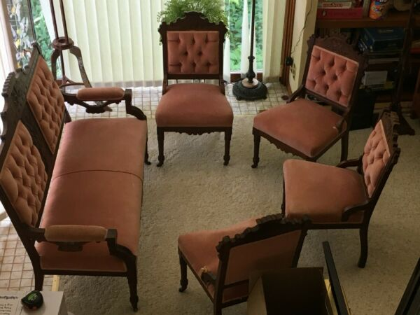 Victorian Parlor Set with Settee 4 Chairs