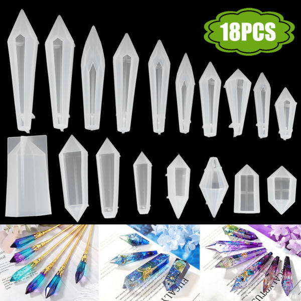 18Pcs Silicone Crystal Resin Mold for DIY Jewelry Pendant Making Tool Handmade $17.97