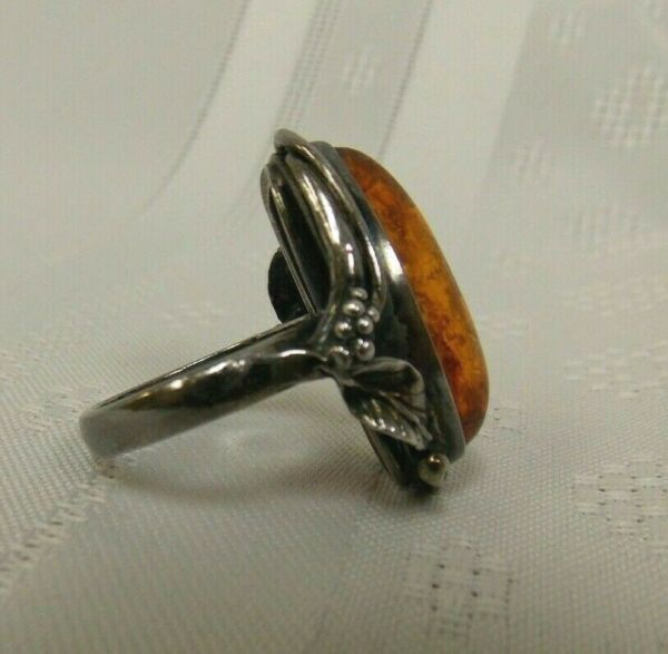 Vintage Sterling Silver amp; Amber Ring Size 8