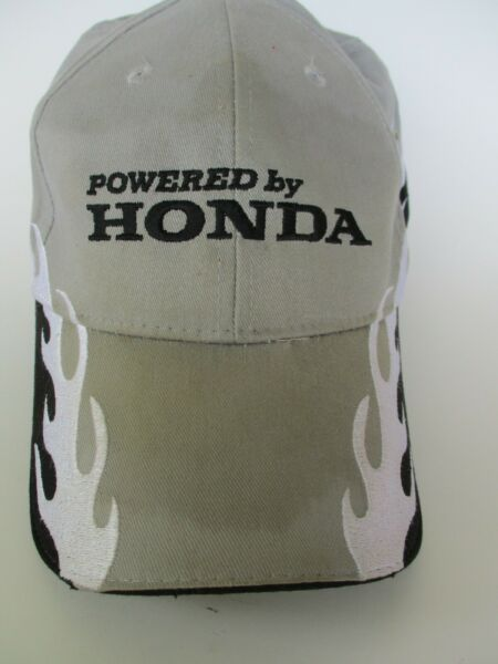 Honda Powered By Honda Embroidered Flames Fire Adjustable Black GRAY Hat