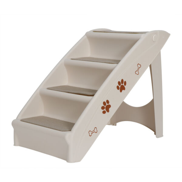 Foldable Pet Stairs Dog Ladder w Support Frame for High Bed 4 Non slip Steps