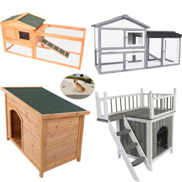 Dog House Pet Wood Outdoor Shelter Extra Large Weather Home Resistant Log Cabin $112.99